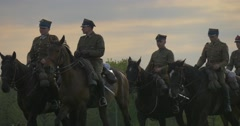 Military Officers Are Riding Horses Are Moving From Step to Trot Stock Footage