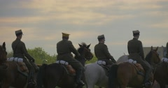 Military Officers Dressed in Uniform and Hats Are Riding Horses Different Stock Footage