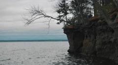 Lake Side Cliff. Stock Footage