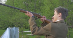Participant of Festival Shoots From a Musket Stock Footage