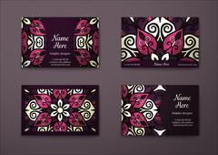 Vector vintage visiting card set. - stock illustration