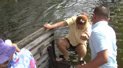 Woman Escapes Flood Water Refugees Emergency Climate Change Global Warming 2012 Stock Footage
