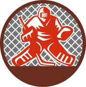 Ice Hockey Goalie Circle Retro - stock illustration