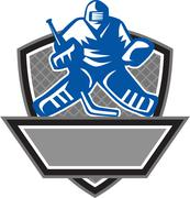 Ice Hockey Goalie Crest Retro - stock illustration