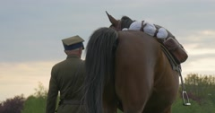 Flag Day in Opole Soldier Holds Horse's Bridle and Sneezes Horse Regiment Stock Footage