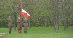 Polish Flag Day in Opole Soldiers Raising Flag Militaries in Authentic Vintage Stock Footage