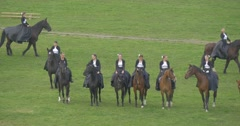 Opole City Day Riders Stop Line up on Field Female Horse Regiment Stock Footage