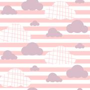 Baby girl vector seamless pattern. Light pink fun sky print for textile - stock illustration