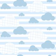 Baby boy vector seamless pattern. Light blue fun sky print for textile - stock illustration