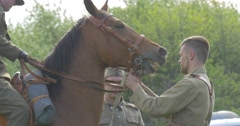 Polish Flag Day Opole Man Holds Horse's Bridle Soldier Sitting on Horse Riding Stock Footage
