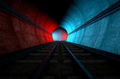 Train Tracks And Tunnel Split Choices Stock Illustration