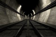 Train Tracks And Tunnel Stock Illustration