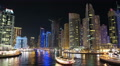 Dubai Marina night zoom in timelapse, United Arab Emirates HD Footage
