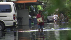 Woman Flooded Area Flood Refugee Emergency Climate Change Global Warming 9508 Stock Footage