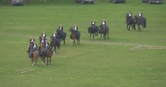 Opole City Day Female Horse Regiment is Riding Around Meadow Demonstrations on Stock Footage
