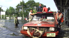 People Refugees Escape Flood Emergency Climate Change Global Warming Bangkok  Stock Footage