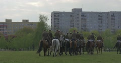 Horse Regiment is Riding Away in Line Militaries in Old Historical Uniform Stock Footage