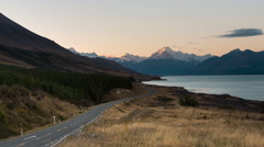 Sunset Timelapse at Peters Lookout, Mount Cook Road Stock Footage