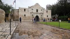 Texas San Antonio Alamo with walking tourists - stock footage
