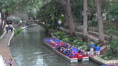 Texas San Antonio barges parked on river Stock Footage