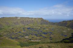 Extinct volcano Rano Kau on Easter Island Stock Photos