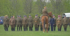 Polish Flag Day in Opole Infantry Soldiers Standing in Two Lines Rider on War Stock Footage