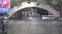 Texas San Antonio River Walk barges arriving Stock Footage
