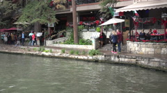 Texas San Antonio River Walk with people walking Stock Footage