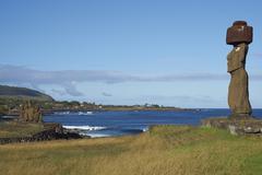 Moai Statue on the Coast of Rapa Nui - stock photo