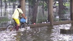 Man Flees Flooding Refugees Flood Emergency Climate Change Global Warming 9514 Stock Footage
