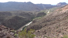 Texas River Road Rio Grande cuts through mountains Stock Footage
