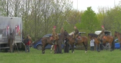 Polish Flag Day in Opole Male and Female Jockeys on Meadow Riding Around on Stock Footage