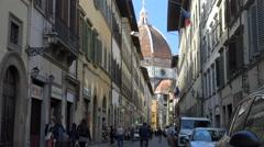 Duomo via quant street, nice light, Florence Stock Footage