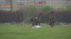 Riders on Horseback Show a Different Tricks Stock Footage