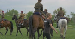 Polish Flag Day in Opole Soldiers Riding Horses on the Edge of City Green Grass Stock Footage