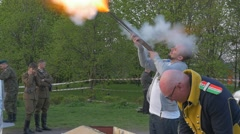 Man With Gun Shoots up Stock Footage