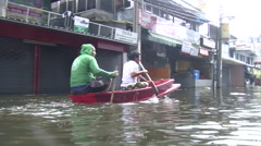 Men in Boat Flood Refugees Flooding Emergency Climate Change Global Warming 9518 Stock Footage