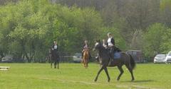 Women on Horseback in the Meadow Stock Footage