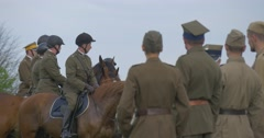 Polish Flag Day in Opole Group of Military Riders People on Horses People in Stock Footage