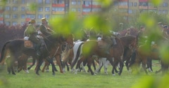 Military Are Riding on Horses in Sunny Summer Day in Park of City Stock Footage