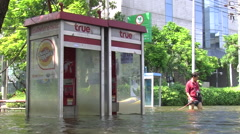 Telephone Booth In Street Flood Emergency Climate Change Global Warming 9524 Stock Footage