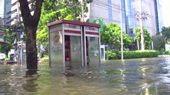 Telephone Booth In Street Flood Emergency Climate Change Global Warming 9525 Stock Footage