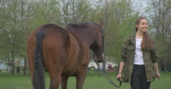 Girls Prepare For Opening of Equestrian Festival Stock Footage
