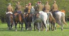 Group of Horsemen is Riding Away in Line Soldiers in Vintage Authentic Uniform Stock Footage