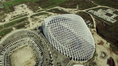 Architect Calatrava designed by . Under costruction. Aerial video N. Stock Footage