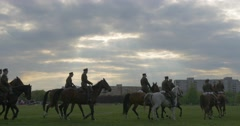 Dressage Horses by Military in Summer Day in City Park in Cloudy Weather Stock Footage