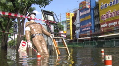 Flooded City Street Flood Emergency Climate Change Global Warming Bangkok 9528 Stock Footage