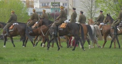 Flag Day in Opole Preparation to Parade Horse Regiment Riders on Horses Workers Stock Footage