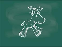 Vector of Reindeer drawing on the blackboard chalk. - stock illustration