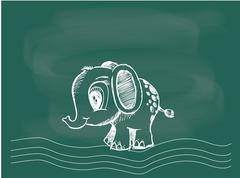 Vector of Mammoth drawing on the blackboard chalk. - stock illustration